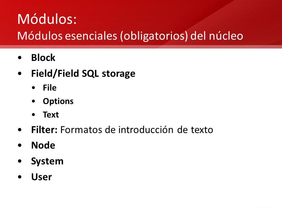 Módulos: Módulos esenciales (obligatorios) del núcleo