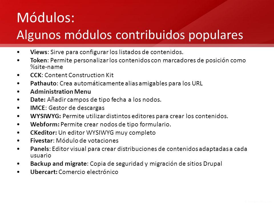 Módulos: Algunos módulos contribuidos populares