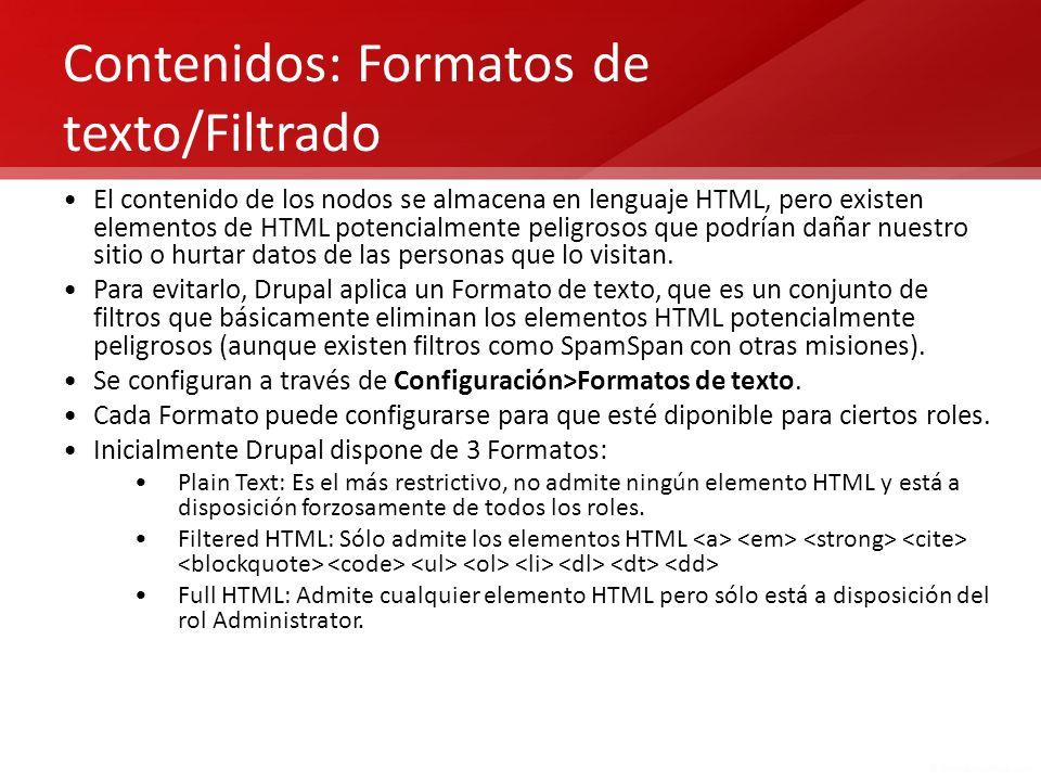 Contenidos: Formatos de texto/Filtrado