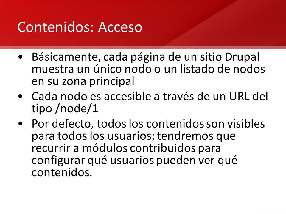 Contenidos: Acceso Básicamente, cada página de un sitio Drupal muestra un único nodo o un listado de nodos en su zona principal.