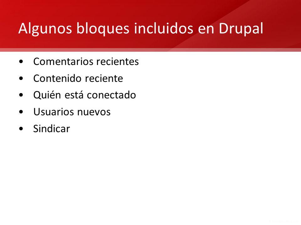 Algunos bloques incluidos en Drupal