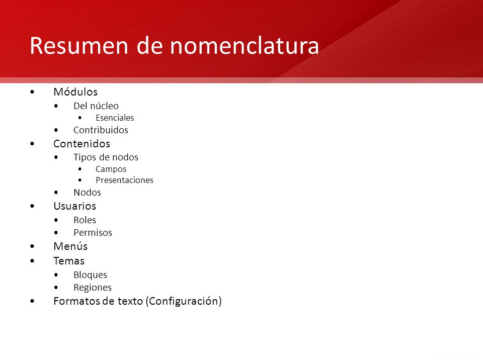 Resumen de nomenclatura
