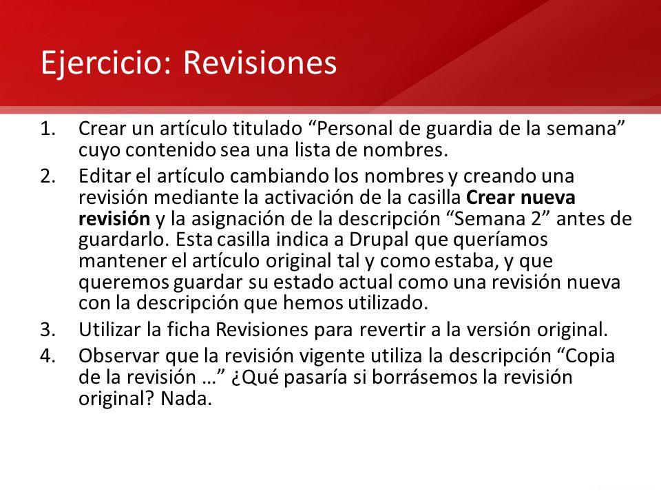 Ejercicio: Revisiones