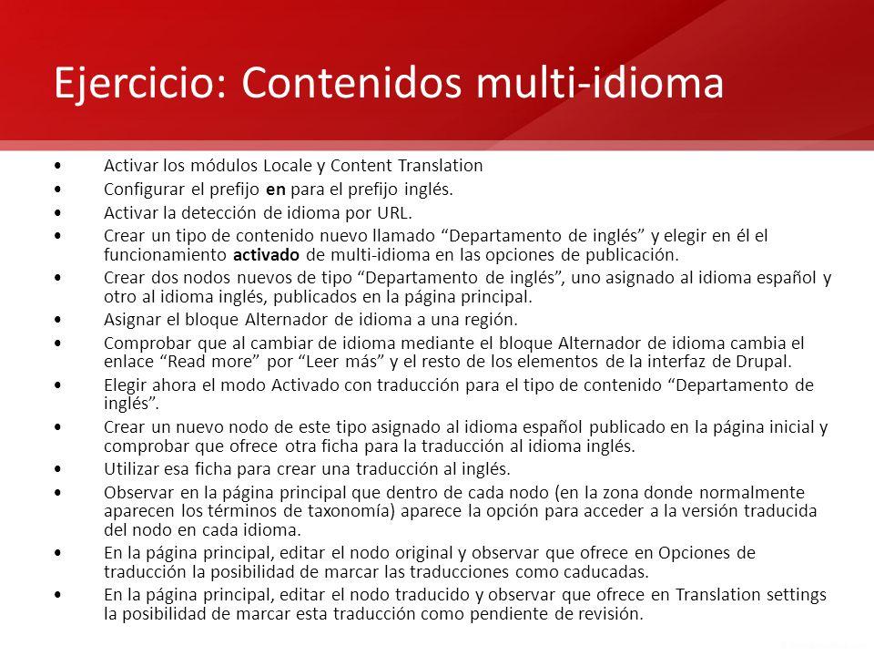 Ejercicio: Contenidos multi-idioma