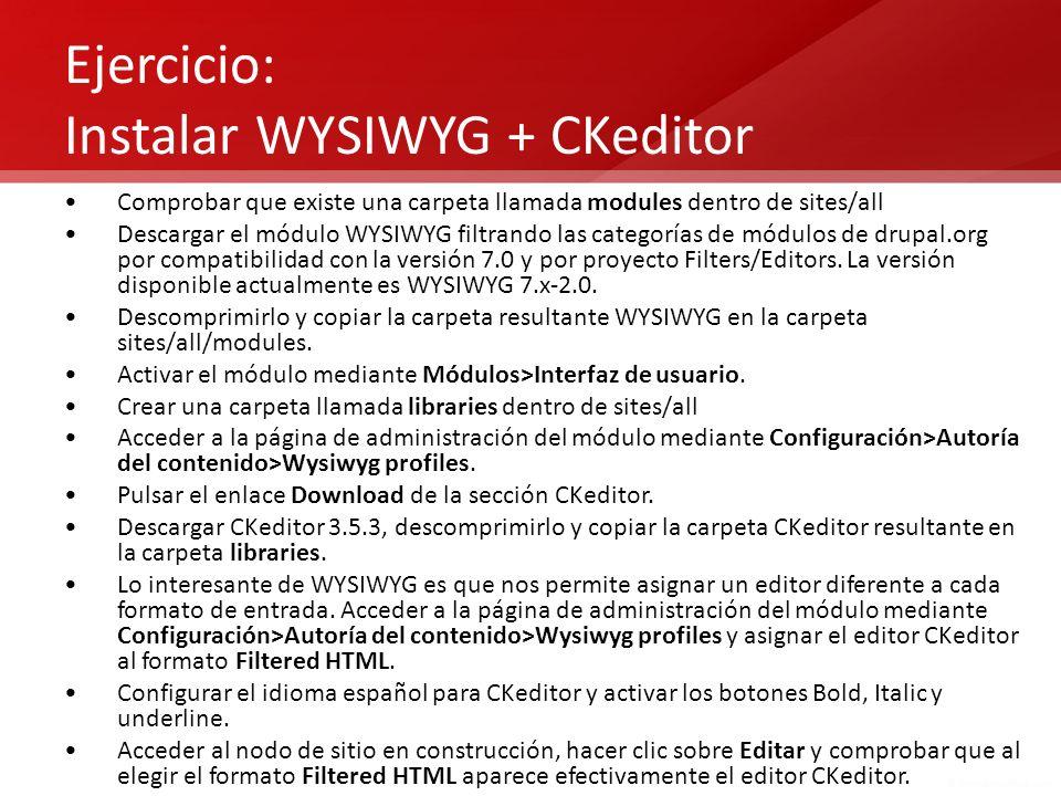 Ejercicio: Instalar WYSIWYG + CKeditor