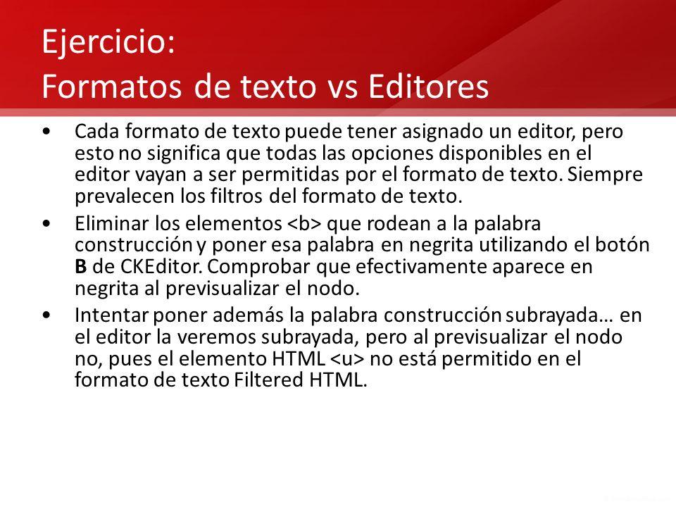 Ejercicio: Formatos de texto vs Editores