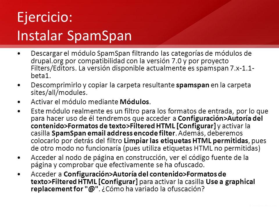 Ejercicio: Instalar SpamSpan