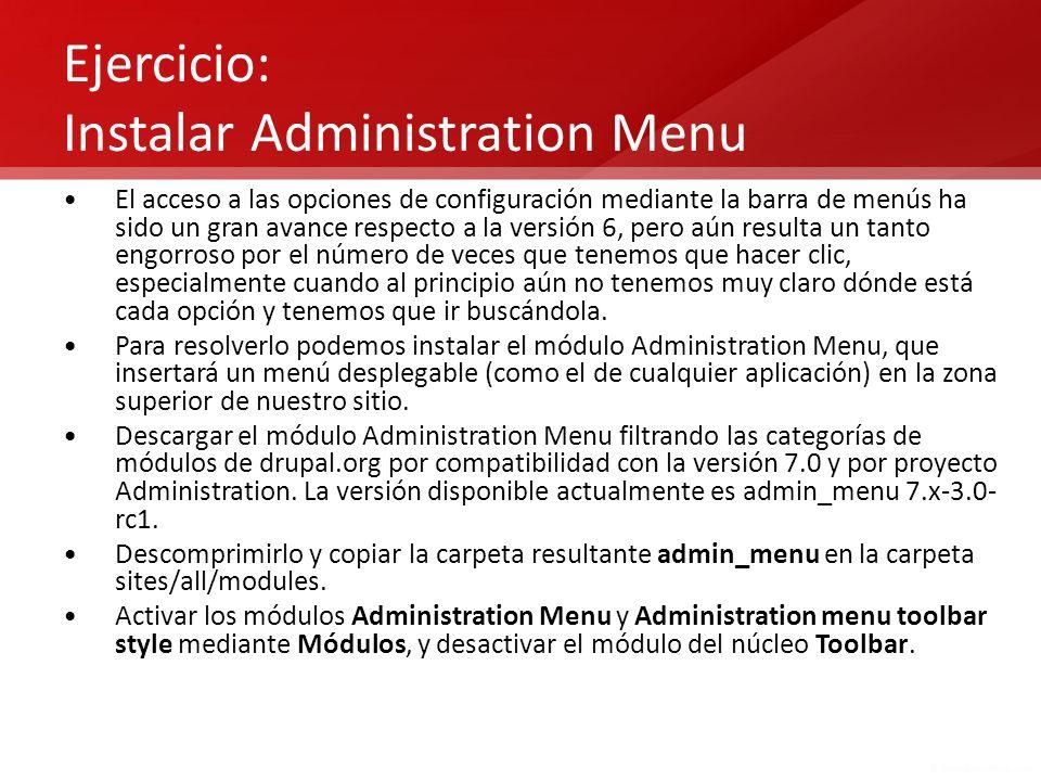 Ejercicio: Instalar Administration Menu