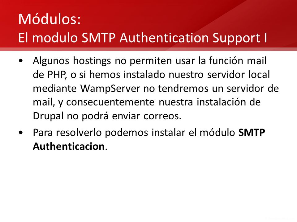 Módulos: El modulo SMTP Authentication Support I
