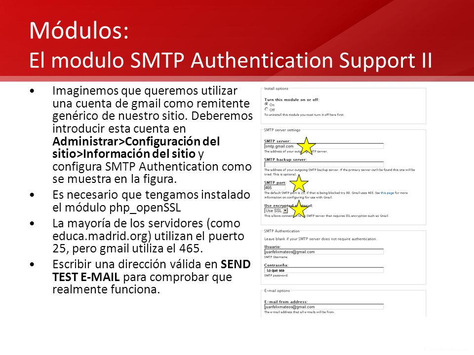 Módulos: El modulo SMTP Authentication Support II