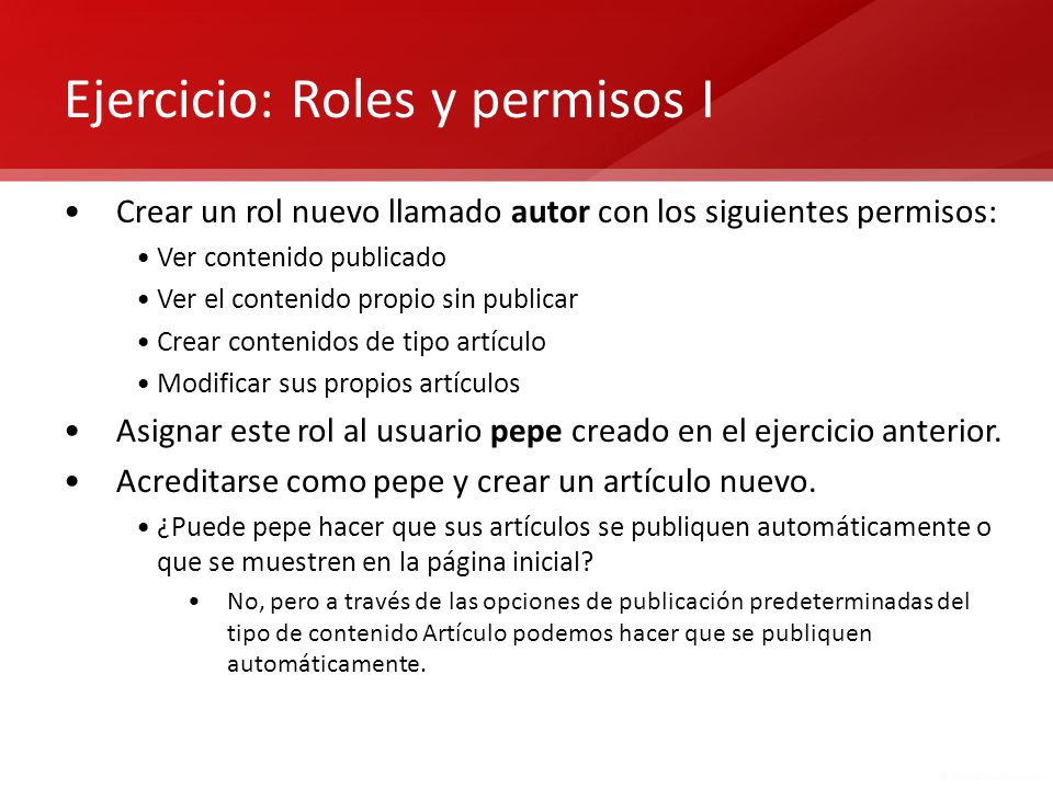 Ejercicio: Roles y permisos I
