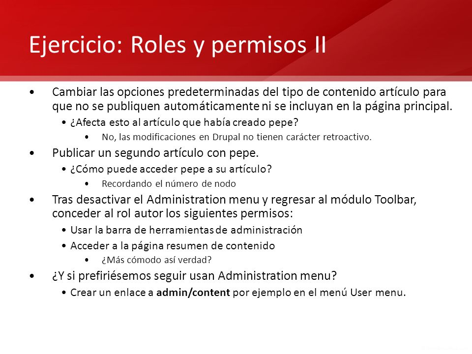 Ejercicio: Roles y permisos II