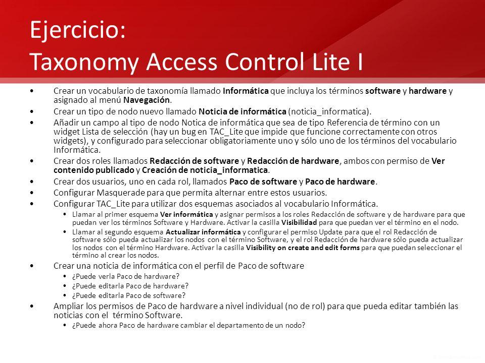 Ejercicio: Taxonomy Access Control Lite I