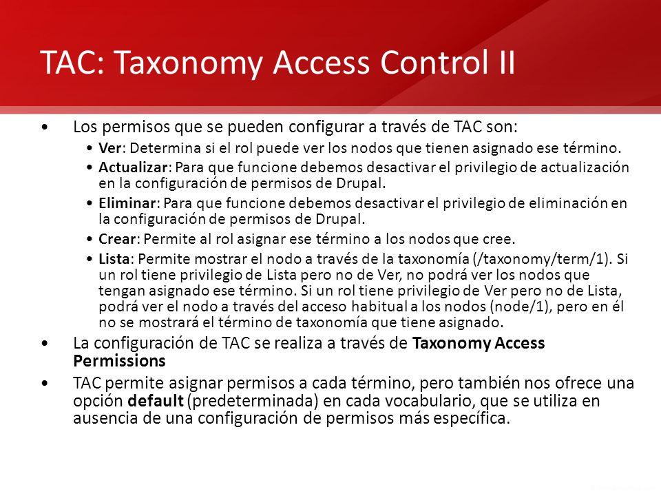TAC: Taxonomy Access Control II