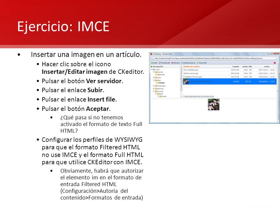 Ejercicio: IMCE Insertar una imagen en un artículo.