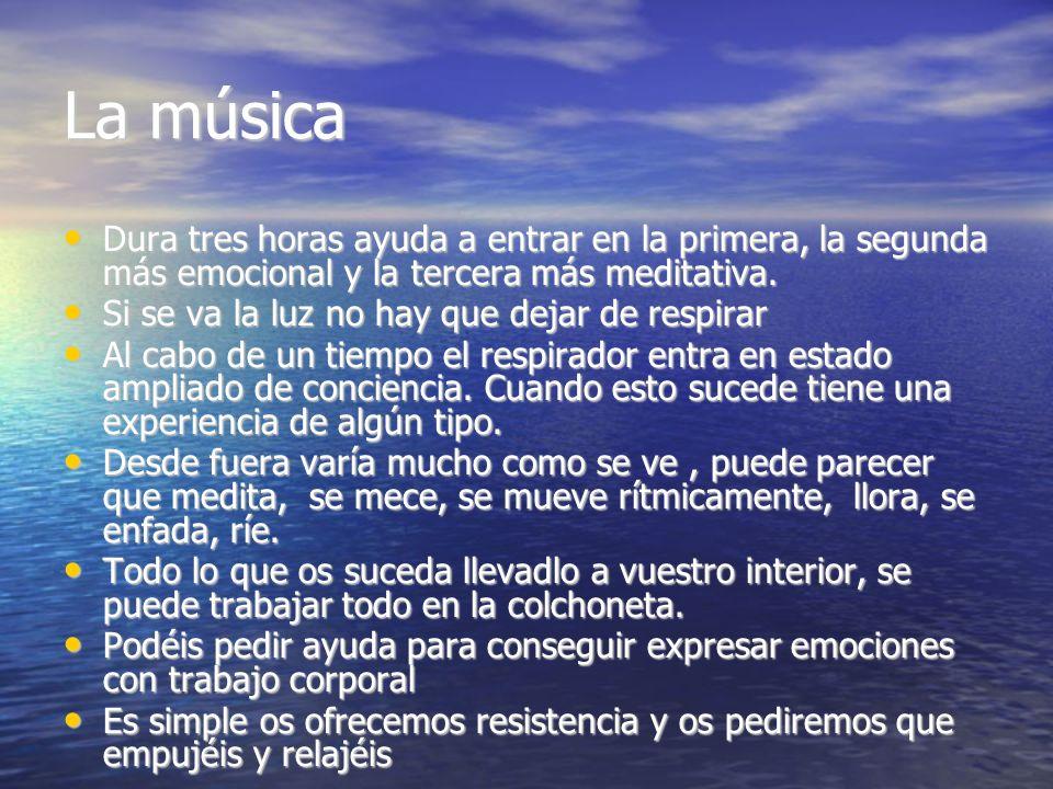 La música Dura tres horas ayuda a entrar en la primera, la segunda más emocional y la tercera más meditativa.