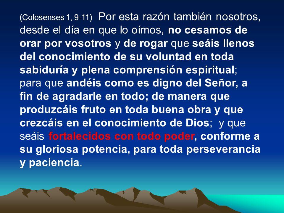 (Colosenses 1, 9-11) Por esta razón también nosotros, desde el día en que lo oímos, no cesamos de orar por vosotros y de rogar que seáis llenos del conocimiento de su voluntad en toda sabiduría y plena comprensión espiritual; para que andéis como es digno del Señor, a fin de agradarle en todo; de manera que produzcáis fruto en toda buena obra y que crezcáis en el conocimiento de Dios; y que seáis fortalecidos con todo poder, conforme a su gloriosa potencia, para toda perseverancia y paciencia.
