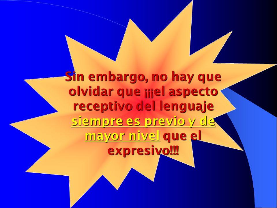 Sin embargo, no hay que olvidar que ¡¡¡el aspecto receptivo del lenguaje siempre es previo y de mayor nivel que el expresivo!!!