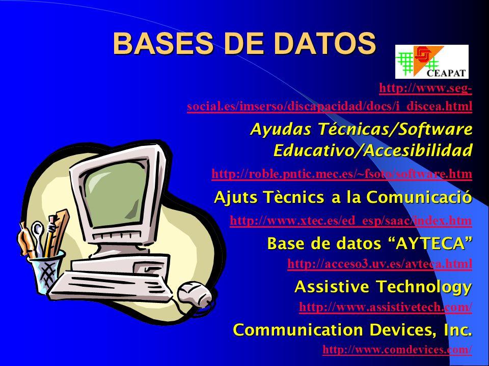 BASES DE DATOS Ayudas Técnicas/Software Educativo/Accesibilidad