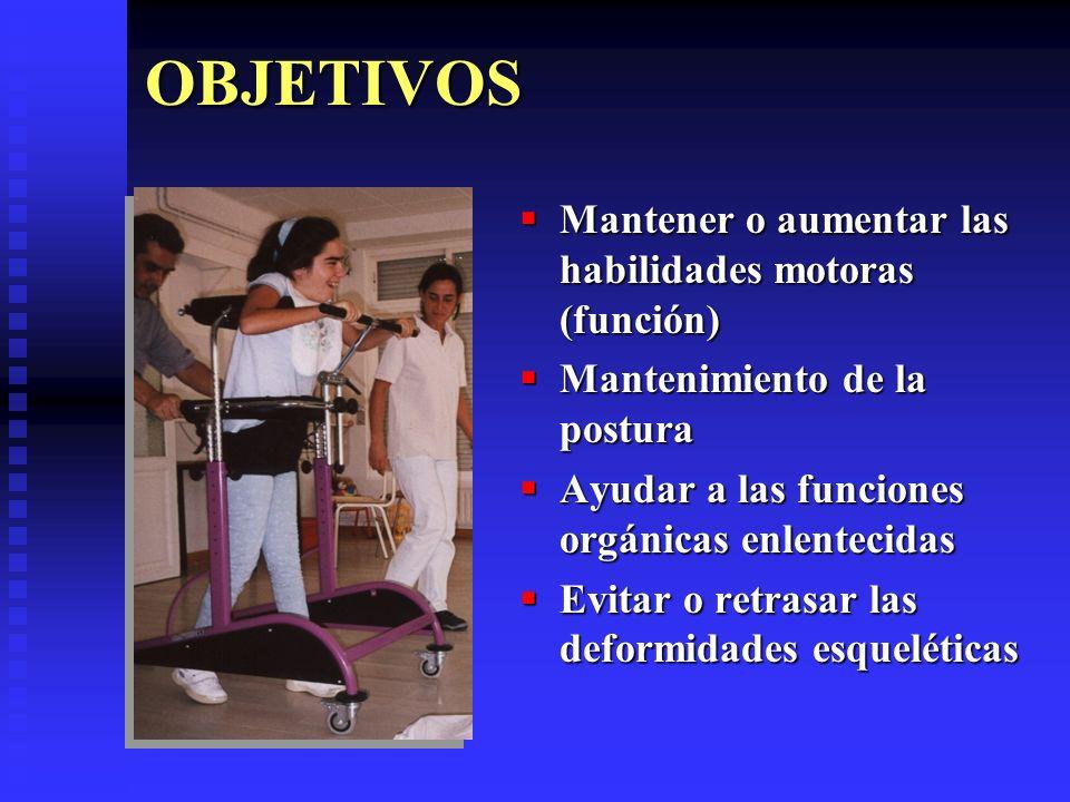 OBJETIVOS Mantener o aumentar las habilidades motoras (función)