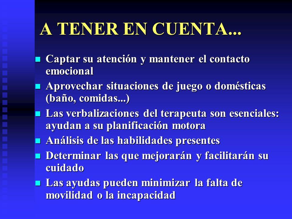 A TENER EN CUENTA...Captar su atención y mantener el contacto emocional. Aprovechar situaciones de juego o domésticas (baño, comidas...)