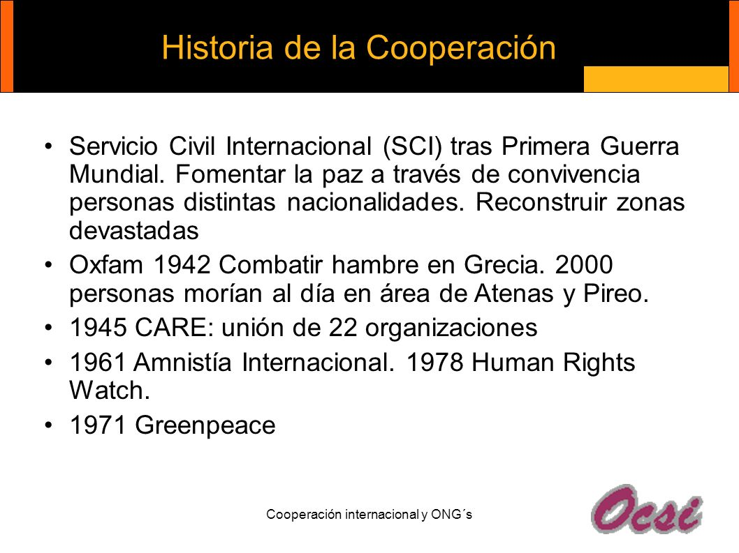 Historia de la Cooperación