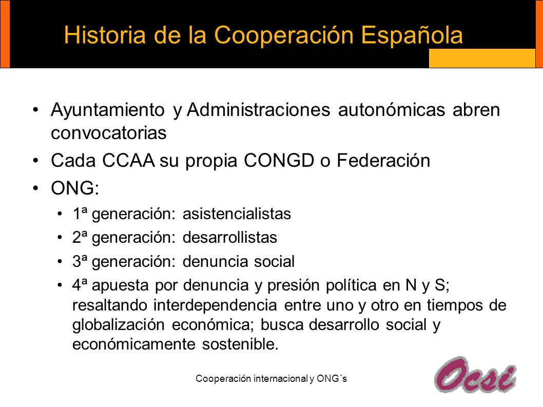 Historia de la Cooperación Española