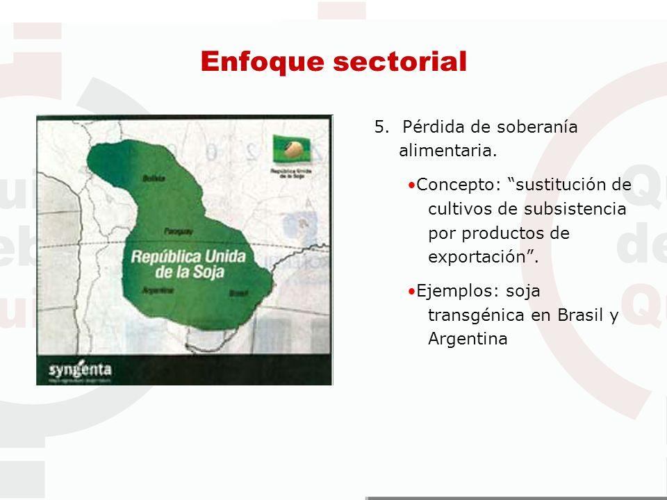 Enfoque sectorial 5. Pérdida de soberanía alimentaria.