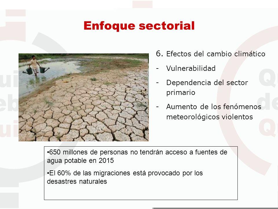 Enfoque sectorial 6. Efectos del cambio climático Vulnerabilidad