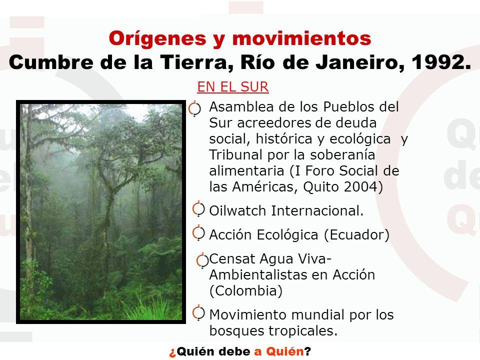 Orígenes y movimientos Cumbre de la Tierra, Río de Janeiro, 1992.