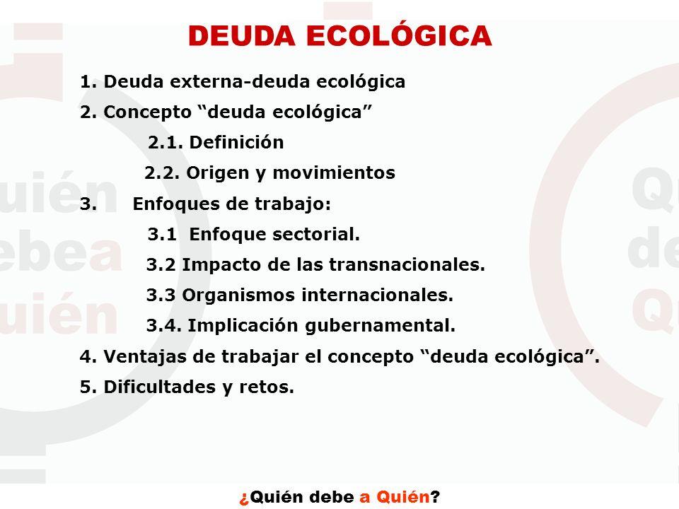 DEUDA ECOLÓGICA 1. Deuda externa-deuda ecológica