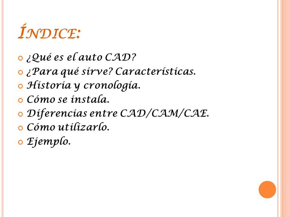Índice: ¿Qué es el auto CAD ¿Para qué sirve Características.