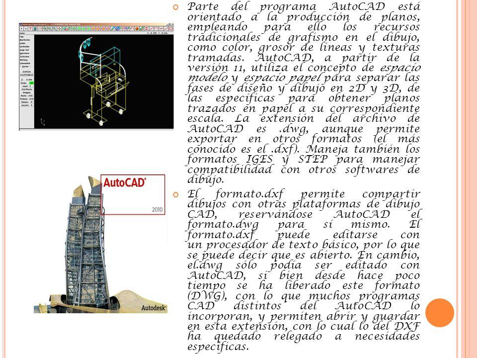 Parte del programa AutoCAD está orientado a la producción de planos, empleando para ello los recursos tradicionales de grafismo en el dibujo, como color, grosor de líneas y texturas tramadas. AutoCAD, a partir de la versión 11, utiliza el concepto de espacio modelo y espacio papel para separar las fases de diseño y dibujo en 2D y 3D, de las específicas para obtener planos trazados en papel a su correspondiente escala. La extensión del archivo de AutoCAD es .dwg, aunque permite exportar en otros formatos (el más conocido es el .dxf). Maneja también los formatos IGES y STEP para manejar compatibilidad con otros softwares de dibujo.