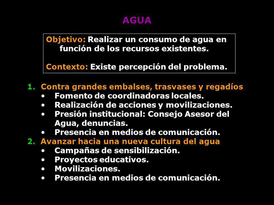 AGUA Objetivo: Realizar un consumo de agua en función de los recursos existentes. Contexto: Existe percepción del problema.
