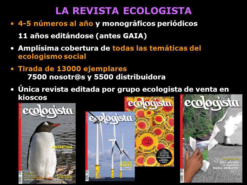 LA REVISTA ECOLOGISTA 4-5 números al año y monográficos periódicos