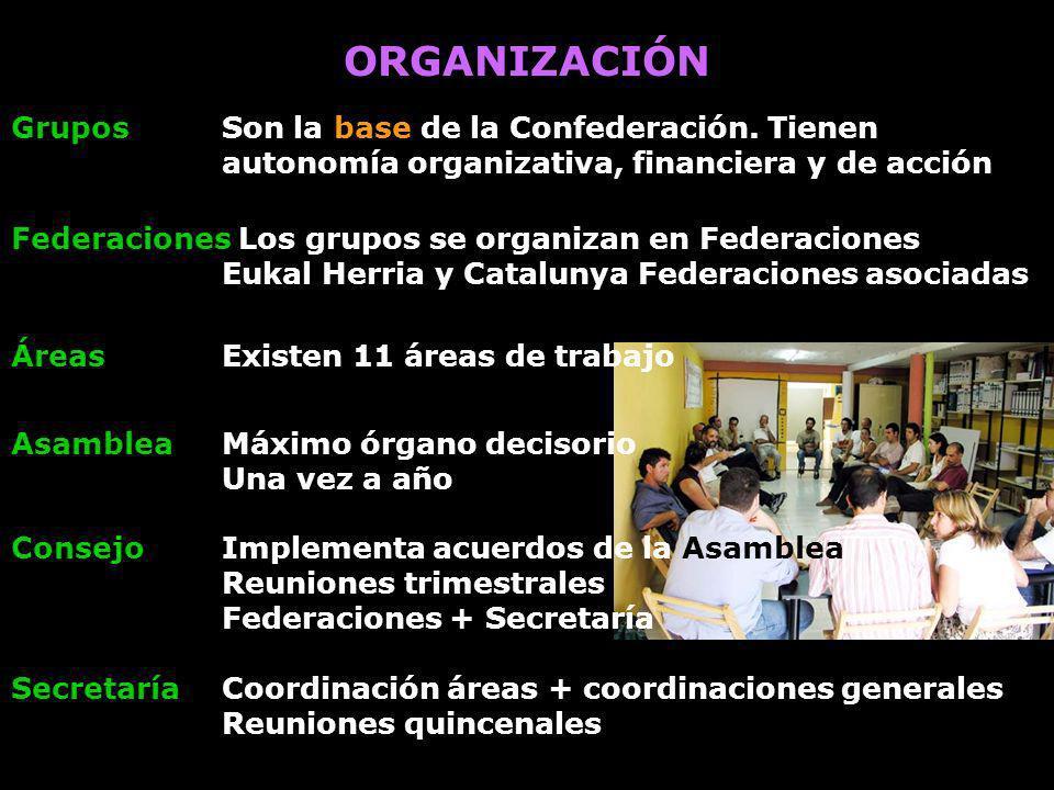 ORGANIZACIÓN Grupos Son la base de la Confederación. Tienen autonomía organizativa, financiera y de acción.