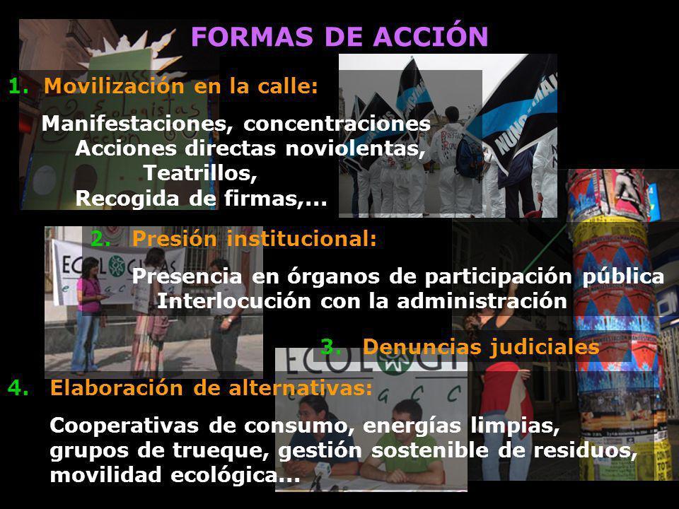FORMAS DE ACCIÓN 1. Movilización en la calle: