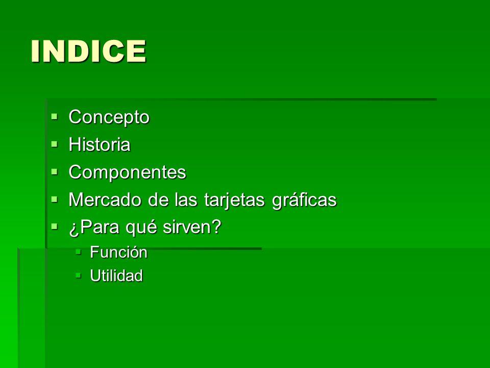 INDICE Concepto Historia Componentes Mercado de las tarjetas gráficas
