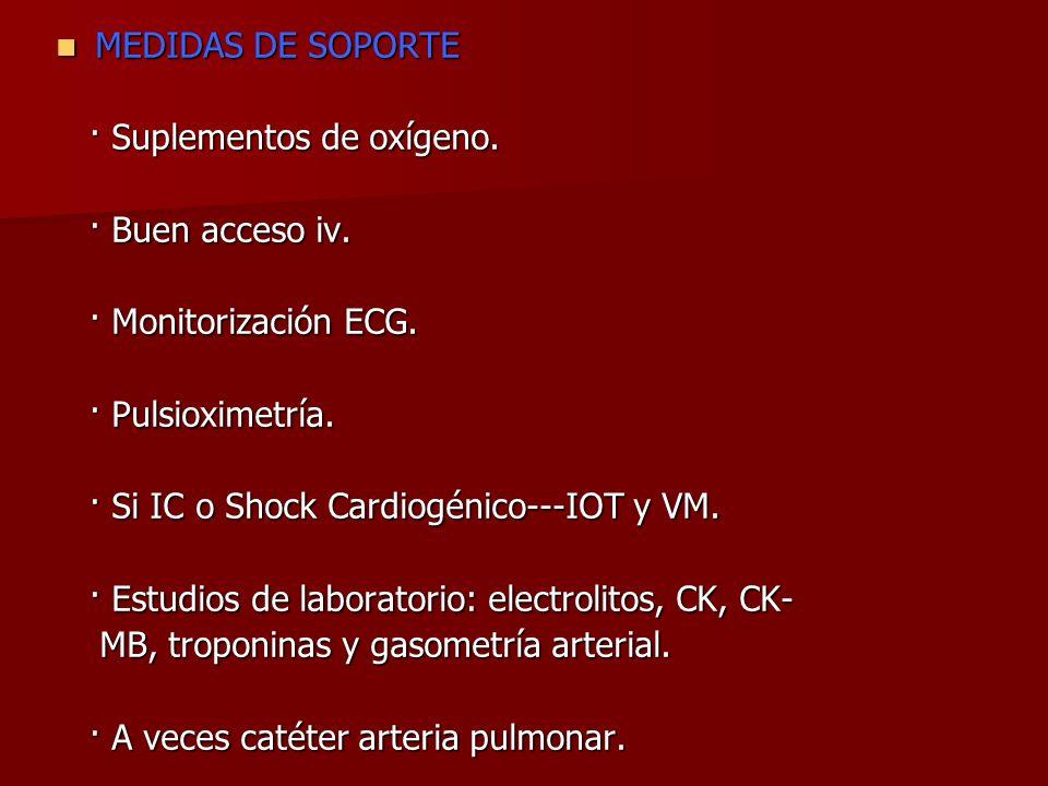 MEDIDAS DE SOPORTE · Suplementos de oxígeno. · Buen acceso iv. · Monitorización ECG. · Pulsioximetría.