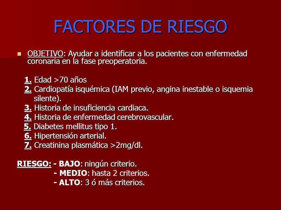 FACTORES DE RIESGO OBJETIVO: Ayudar a identificar a los pacientes con enfermedad coronaria en la fase preoperatoria.