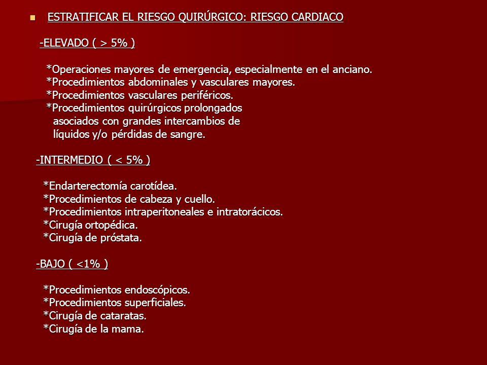 ESTRATIFICAR EL RIESGO QUIRÚRGICO: RIESGO CARDIACO