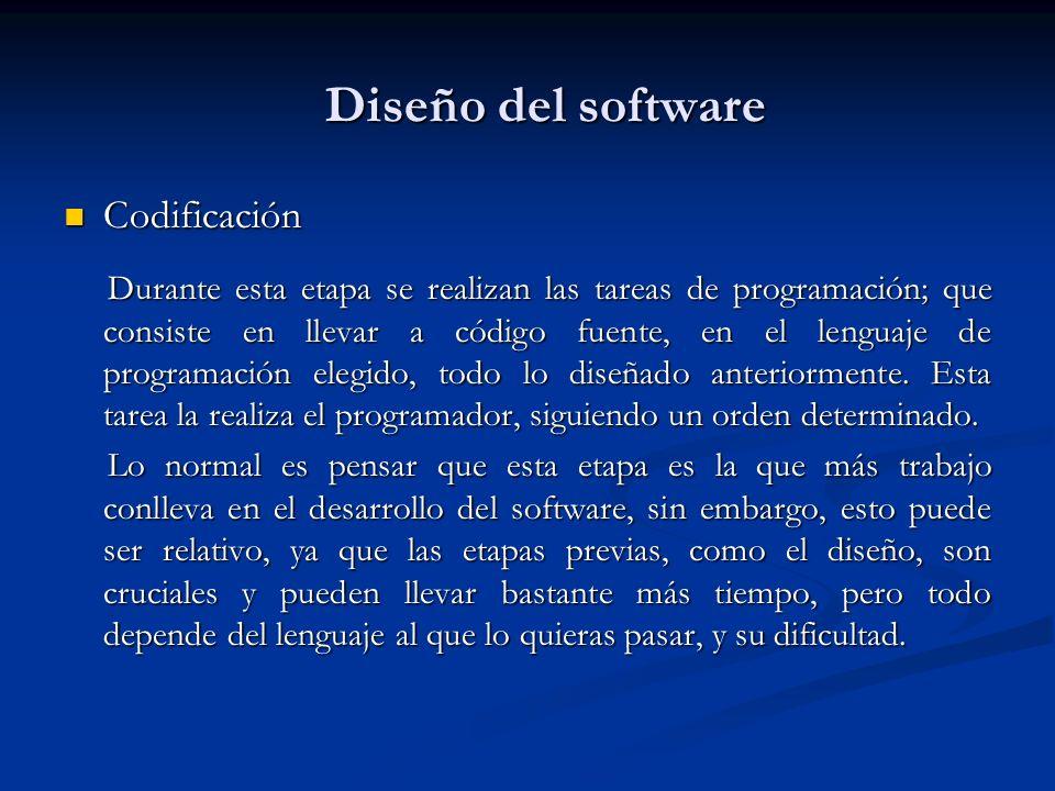 Diseño del software Codificación