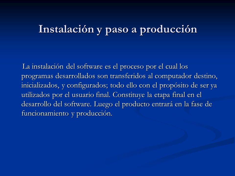 Instalación y paso a producción