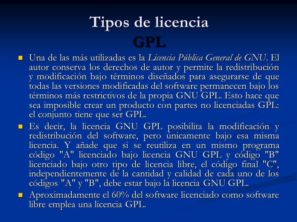 Tipos de licencia GPL