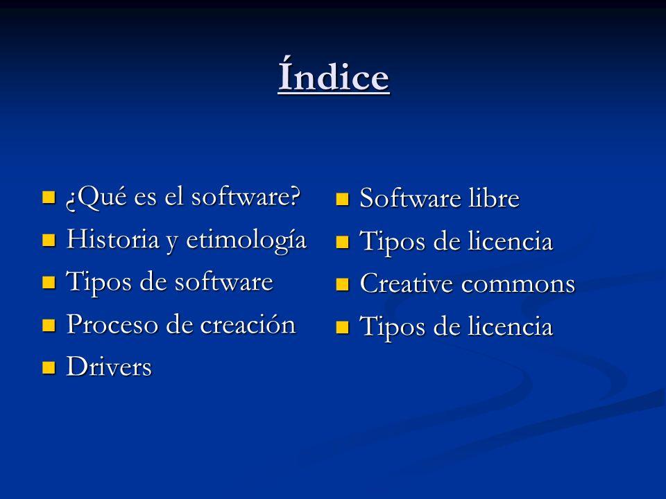 Índice ¿Qué es el software Software libre Historia y etimología