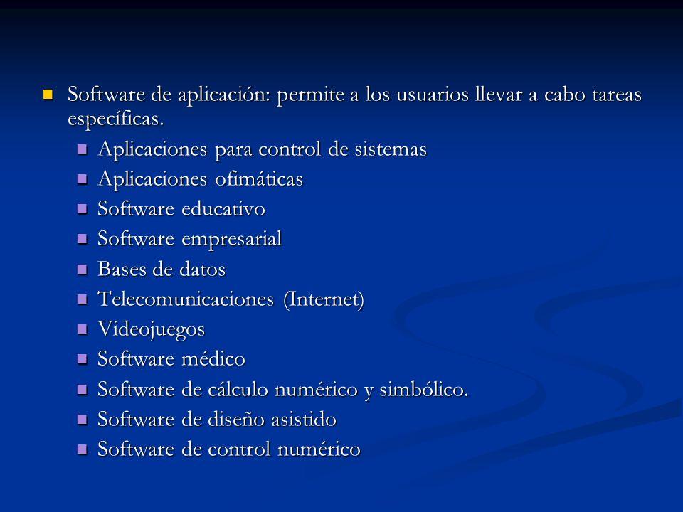 Software de aplicación: permite a los usuarios llevar a cabo tareas específicas.