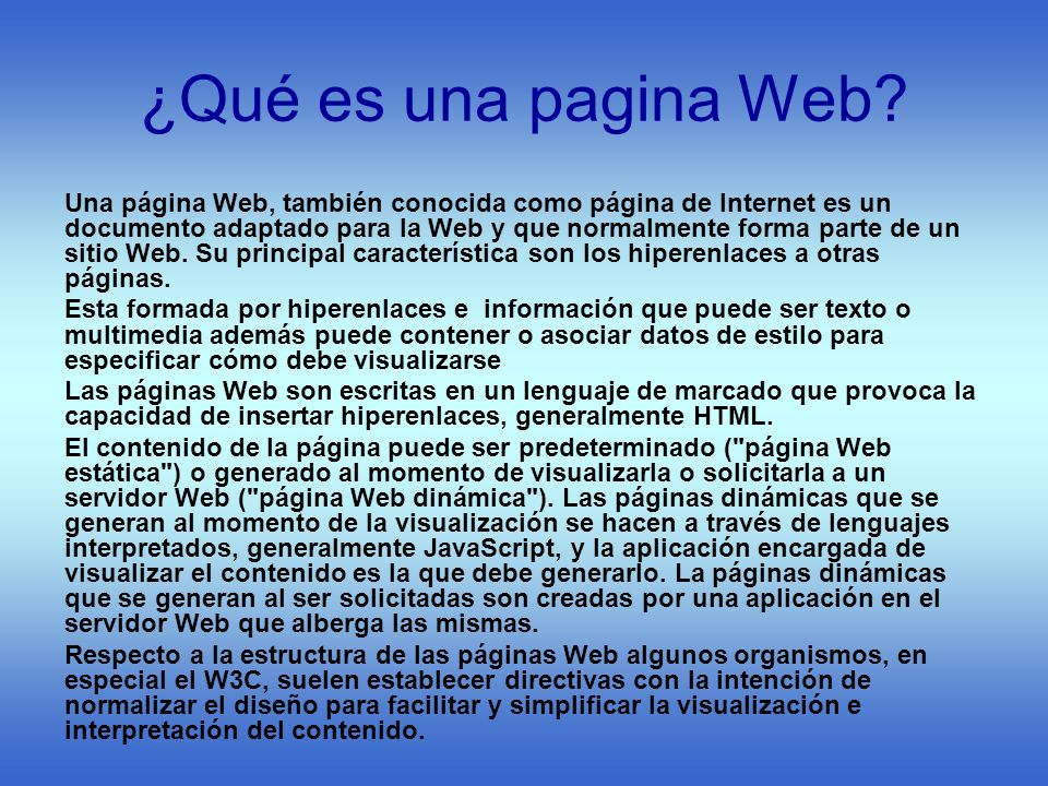 ¿Qué es una pagina Web