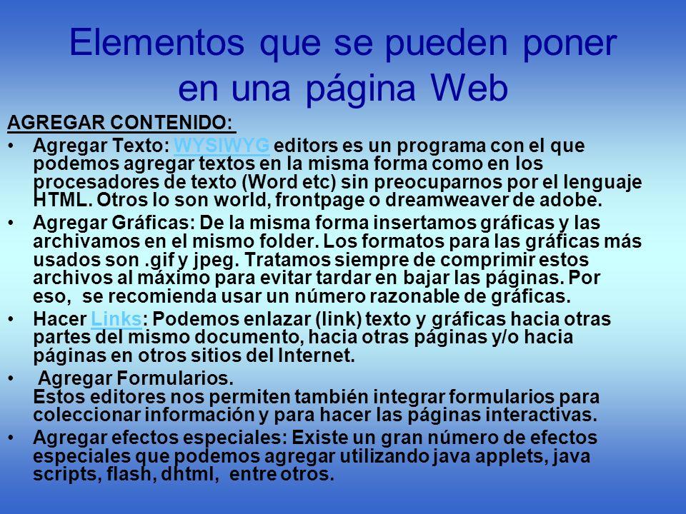 Elementos que se pueden poner en una página Web