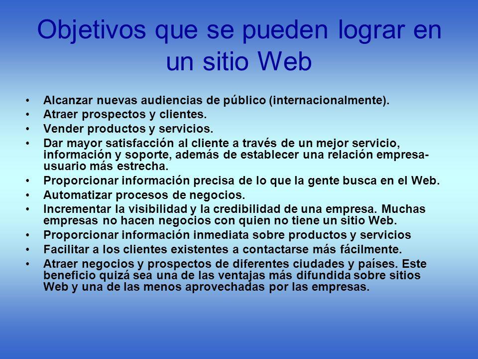 Objetivos que se pueden lograr en un sitio Web