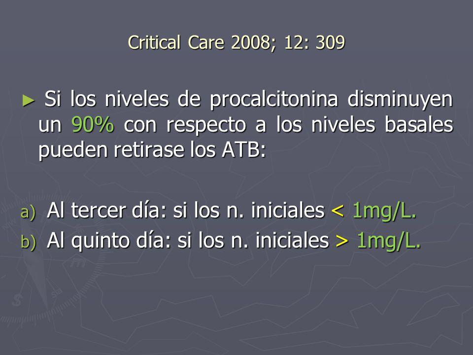 Al tercer día: si los n. iniciales < 1mg/L.